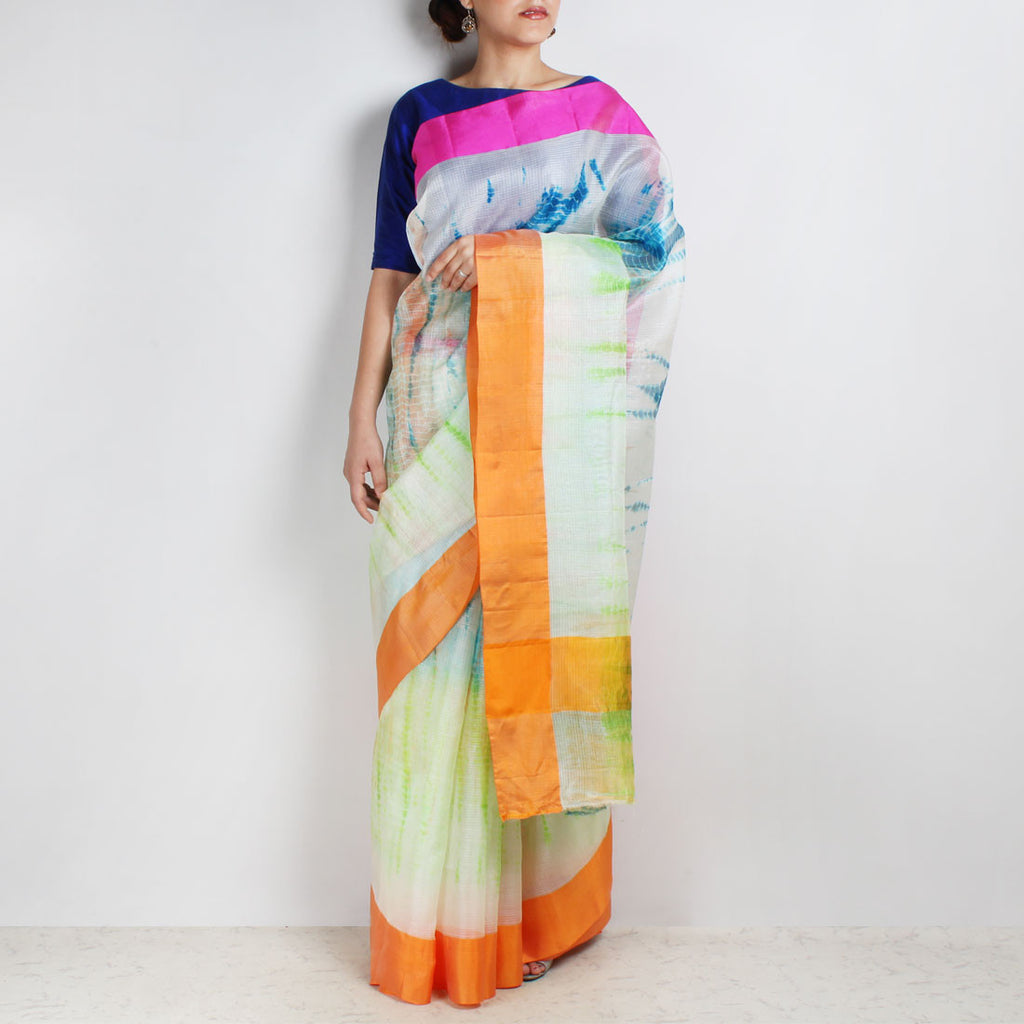 White Kota Silk Tie & Dye Saree With Silk Border by Sailesh Singhania