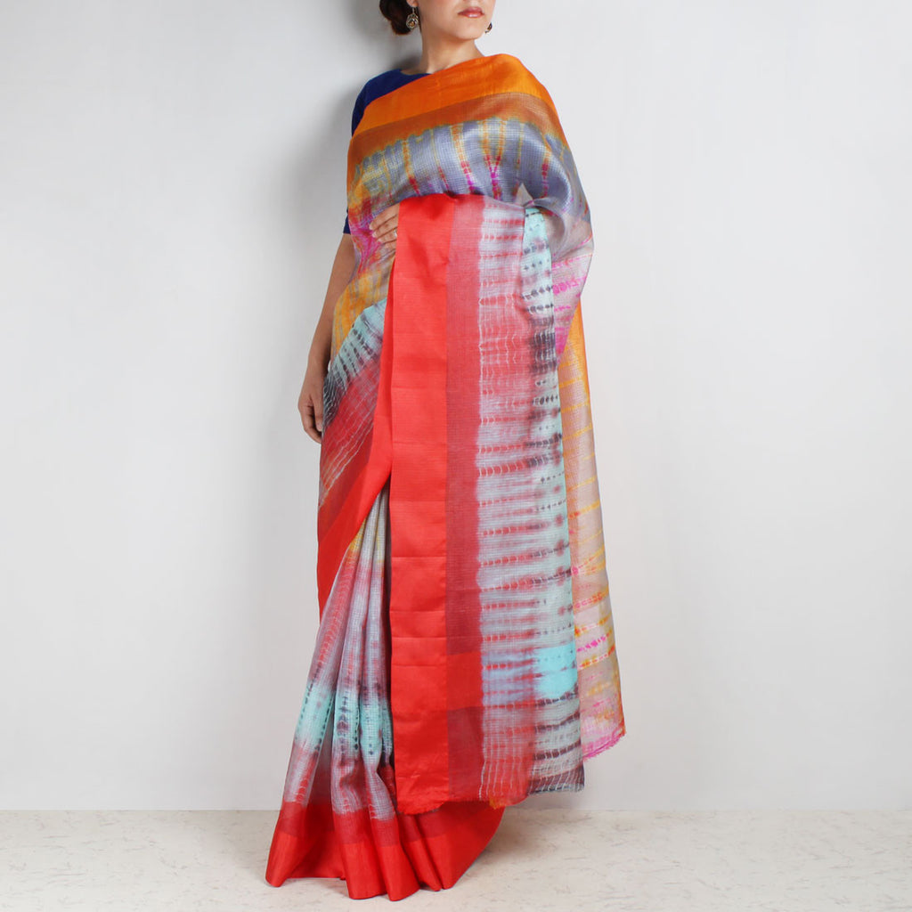 Blue Kota Silk Tie & Dye Saree With Silk Border by Sailesh Singhania