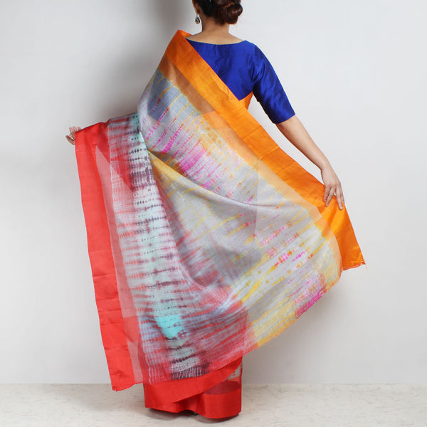 Blue Kota Silk Tie & Dye Saree With Silk Border