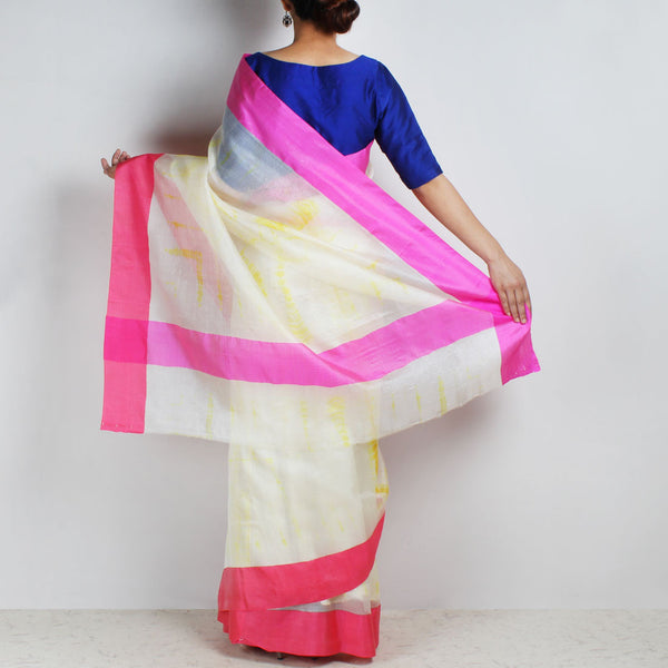 White & Yellow Kota Silk Tie & Dye Saree With Silk Border