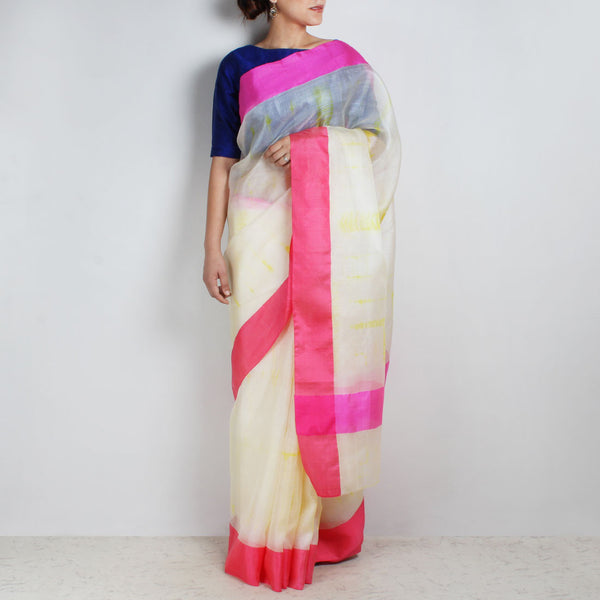 White & Yellow Kota Silk Tie & Dye Saree With Silk Border by Sailesh Singhania