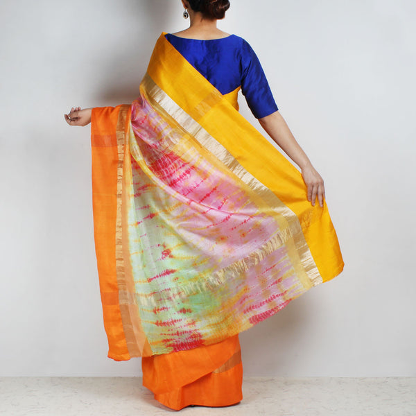 Orange & Green Kota Silk Tie & Dye Saree With Zari Border