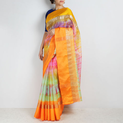 Orange & Green Kota Silk Tie & Dye Saree With Zari Border by Sailesh Singhania