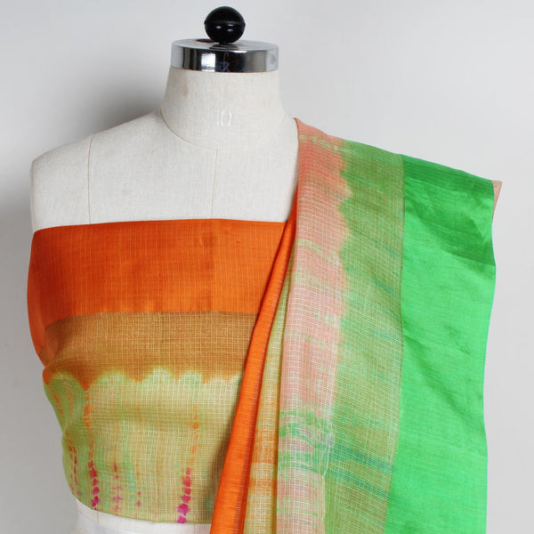 Green Kota Silk Tie & Dye Saree With Silk Border