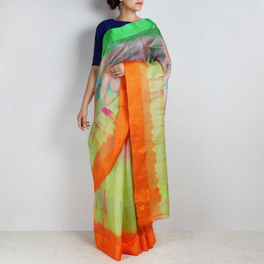 Green Kota Silk Tie & Dye Saree With Silk Border by Sailesh Singhania