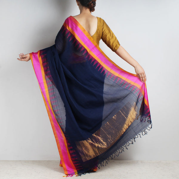 Oxford Blue Khadi Cotton Three Shuttle Saree With Temple Border