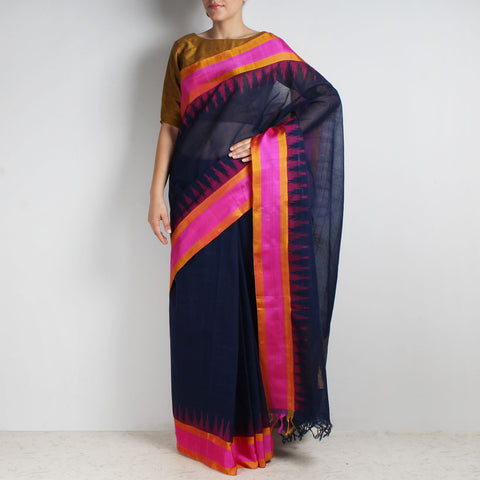 Oxford Blue Khadi Cotton Three Shuttle Saree With Temple Border by Sailesh Singhania