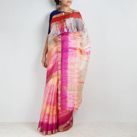 Pink & Orange Kota Silk Tie & Dye Saree With Zari Border by Sailesh Singhania
