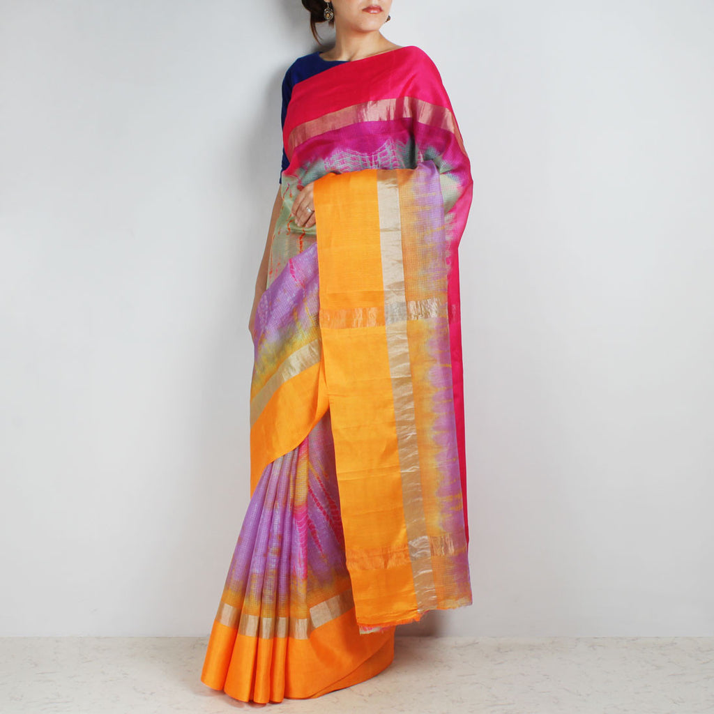 Purple Kota Silk Tie & Dye Saree With Zari Border by Sailesh Singhania