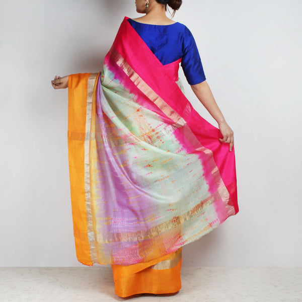 Purple Kota Silk Tie & Dye Saree With Zari Border