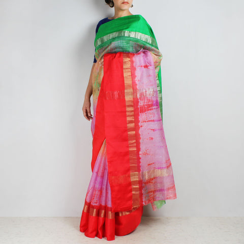 Pink & Green Kota Silk Tie & Dye Saree With Zari Border by Sailesh Singhania