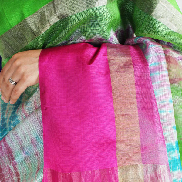 Blue & Pink Kota Silk Tie & Dye Saree With Zari Border
