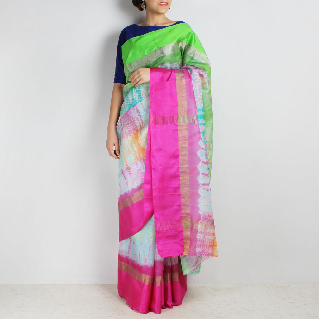 Blue & Pink Kota Silk Tie & Dye Saree With Zari Border by Sailesh Singhania