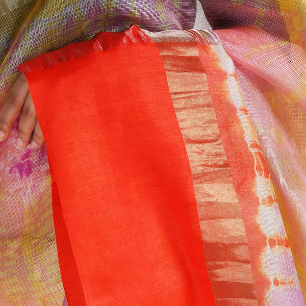 Pink & Orange Kota Silk Tie & Dye Saree With Zari Border