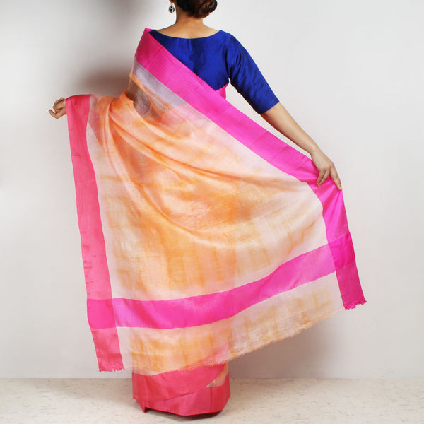Orange Kota Silk Tie & Dye Saree With Silk Border