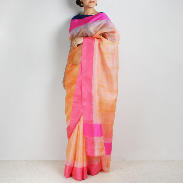 Orange Kota Silk Tie & Dye Saree With Silk Border by Sailesh Singhania