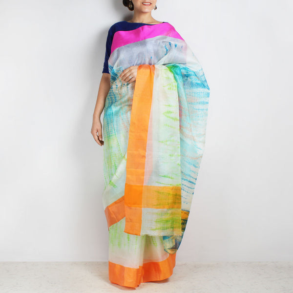 White & Green Kota Silk Tie & Dye Saree With Silk Border by Sailesh Singhania
