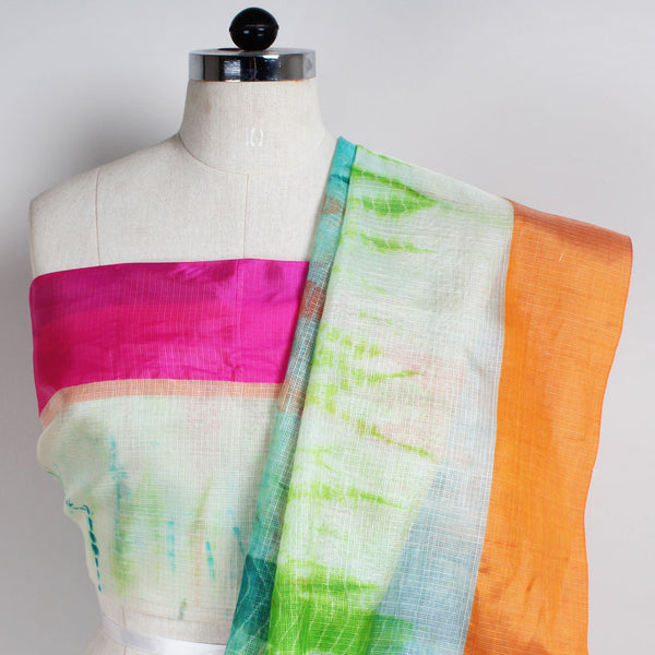 White & Green Kota Silk Tie & Dye Saree With Silk Border