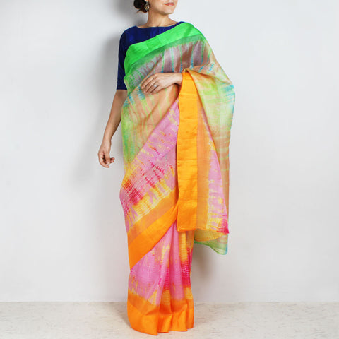 Multicolor Kota Silk Tie & Dye Saree With Silk Border by Sailesh Singhania