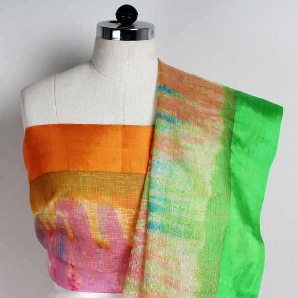 Multicolor Kota Silk Tie & Dye Saree With Silk Border
