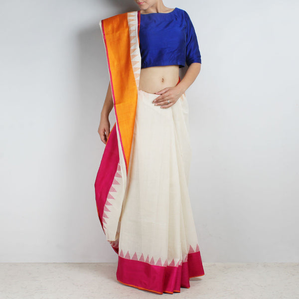 Ivory White Khadi Cotton Three Shuttle Saree With Temple Border