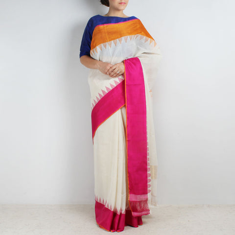 Ivory White Khadi Cotton Three Shuttle Saree With Temple Border by Sailesh Singhania
