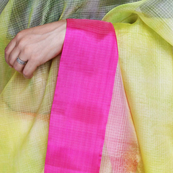 Lemon Yellow Kota Silk Tie & Dye Saree With Silk Border