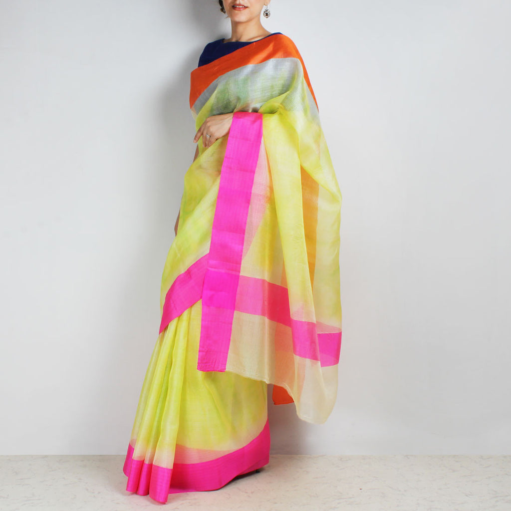 Lemon Yellow Kota Silk Tie & Dye Saree With Silk Border by Sailesh Singhania