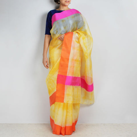 Yellow Kota Silk Tie & Dye Saree With Silk Border by Sailesh Singhania
