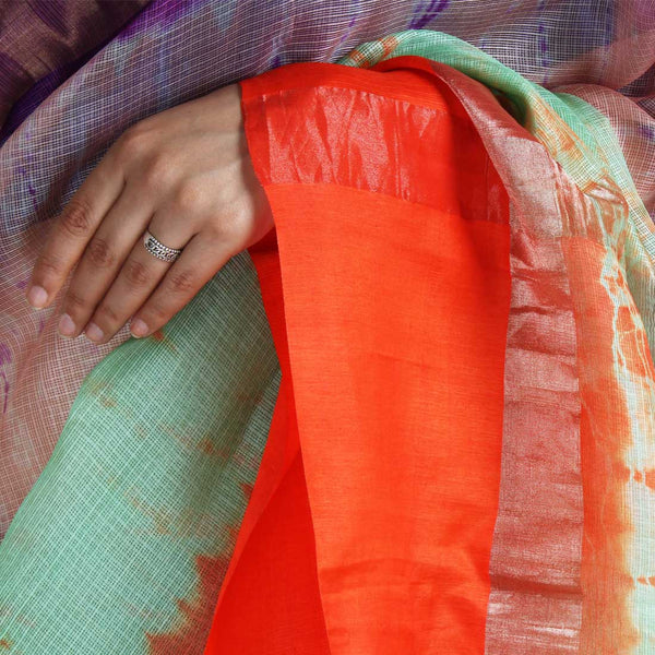 Green & Purple Kota Silk Tie & Dye Saree With Zari Border