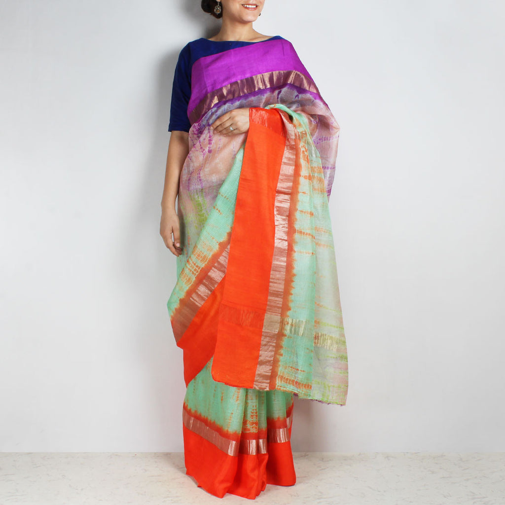 Green & Purple Kota Silk Tie & Dye Saree With Zari Border by Sailesh Singhania