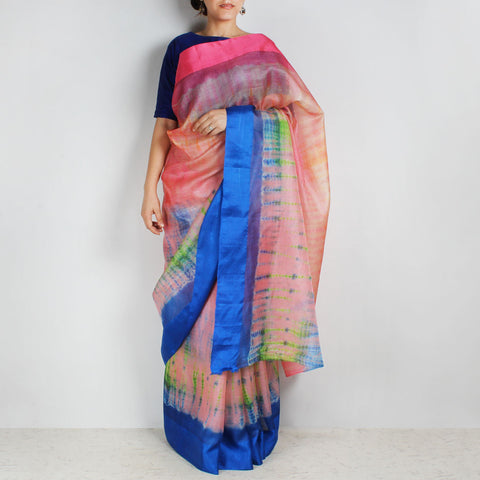 Pink & Blue Kota Silk Tie & Dye Saree With Silk Border by Sailesh Singhania