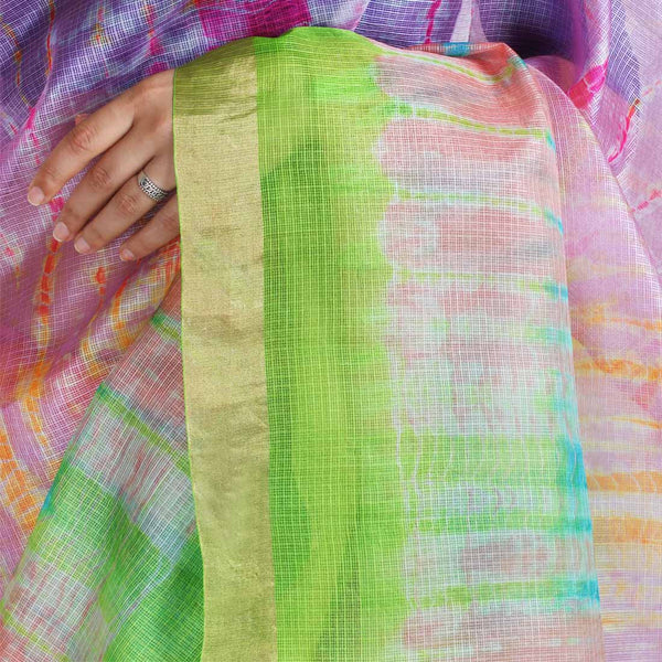 Pink & Green Kota Silk Tie & Dye Saree With Zari Border