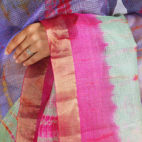 Purple & Green Kota Silk Tie & Dye Saree With Zari Border