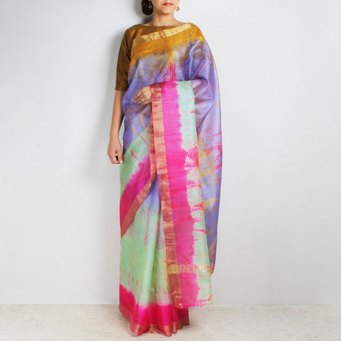 Purple & Green Kota Silk Tie & Dye Saree With Zari Border by Sailesh Singhania