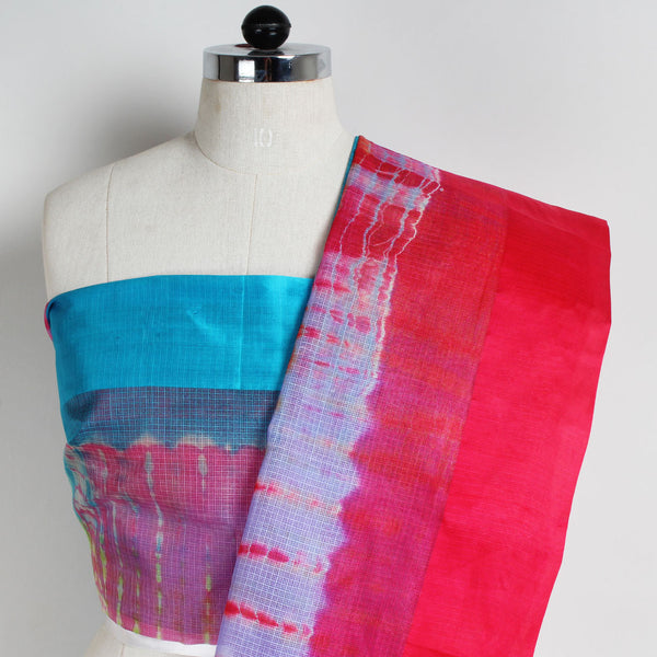 Pink & Purple Kota Silk Tie & Dye Saree With Silk Border