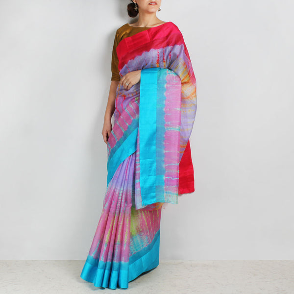 Pink & Purple Kota Silk Tie & Dye Saree With Silk Border by Sailesh Singhania
