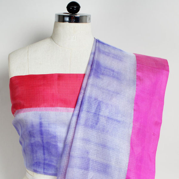 White & Purple Kota Silk Tie & Dye Saree With Silk Border