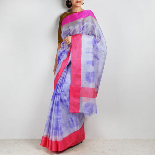 White & Purple Kota Silk Tie & Dye Saree With Silk Border by Sailesh Singhania