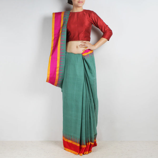 Mellow Green Khadi Cotton Three Shuttle Saree With Temple Border