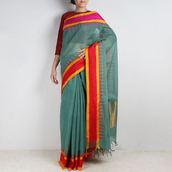 Mellow Green Khadi Cotton Three Shuttle Saree With Temple Border by Sailesh Singhania