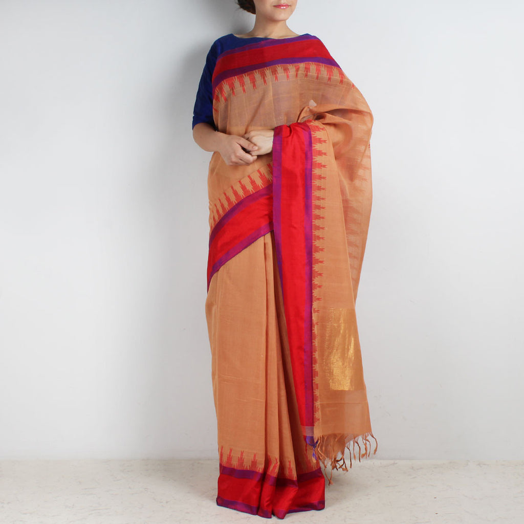 Gray Khadi Cotton Three Shuttle Saree With Temple Border by Sailesh Singhania