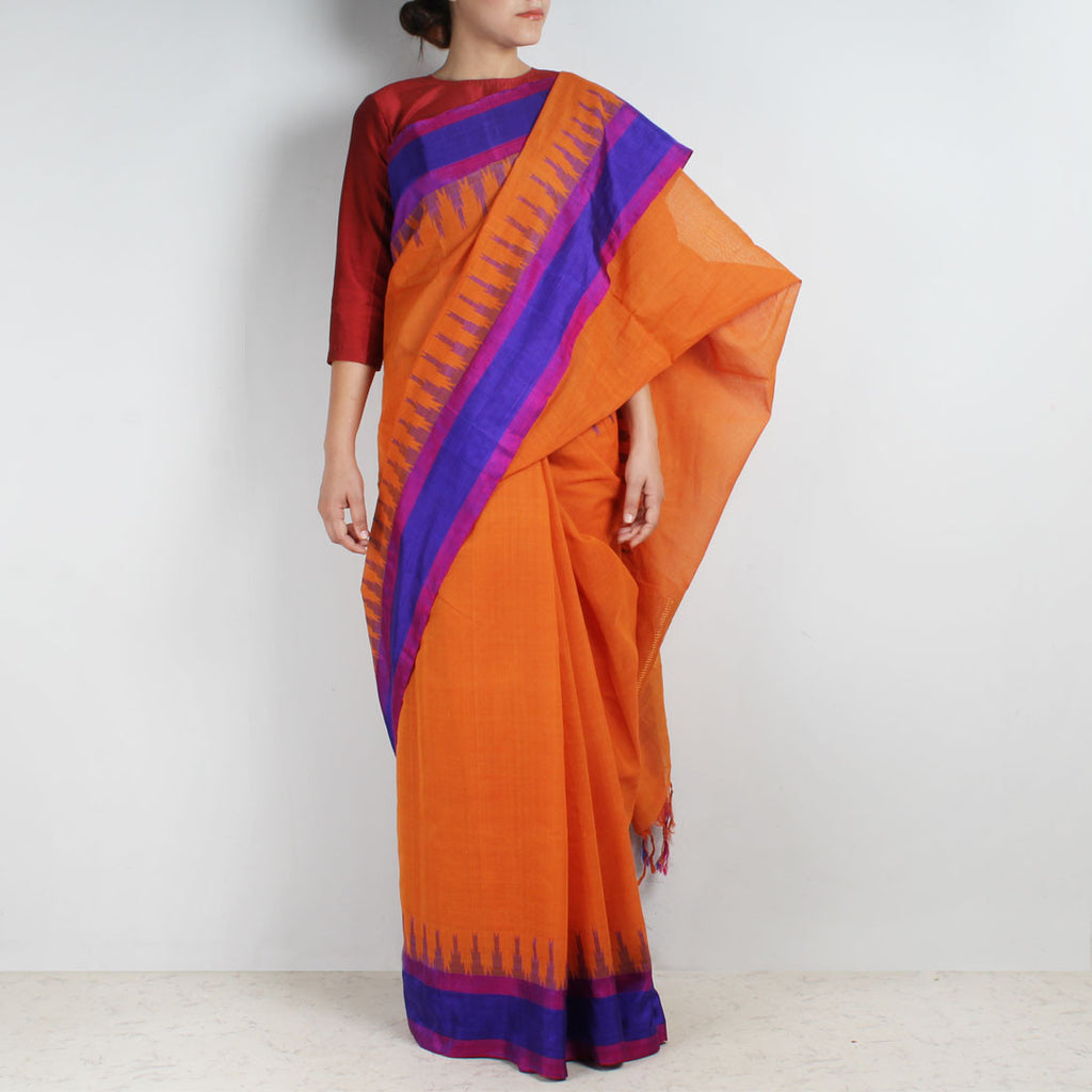 Orange Khadi Cotton Three Shuttle Saree With Temple Border by Sailesh Singhania