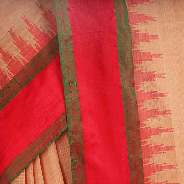 Light Brown Khadi Cotton Three Shuttle Saree With Temple Border