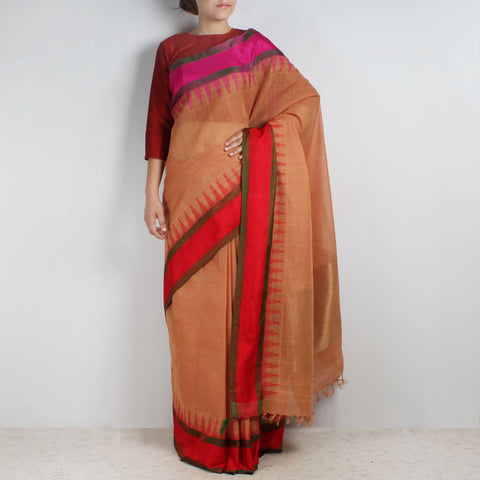 Light Brown Khadi Cotton Three Shuttle Saree With Temple Border by Sailesh Singhania
