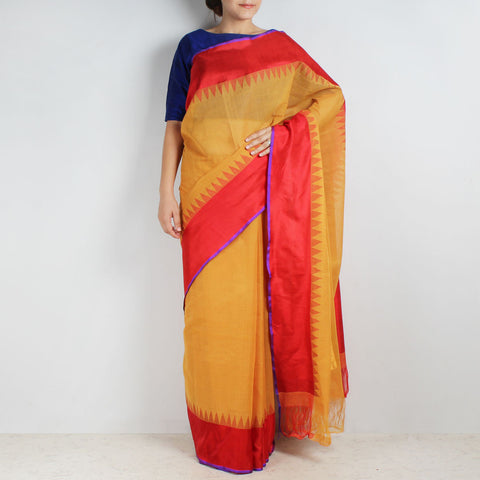 Yellow Khadi Cotton Three Shuttle Saree With Temple Border by Sailesh Singhania