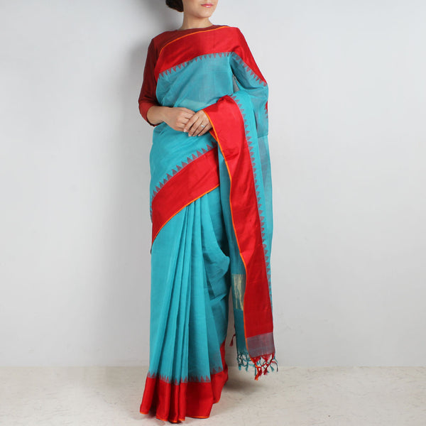Light Blue Khadi Cotton Three Shuttle Saree With Temple Border by Sailesh Singhania