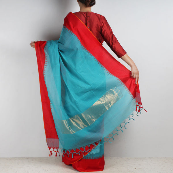 Light Blue Khadi Cotton Three Shuttle Saree With Temple Border
