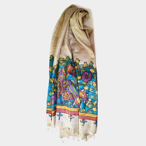 Handpainted Bird Beige Silk Dupatta by Noorani Biswas