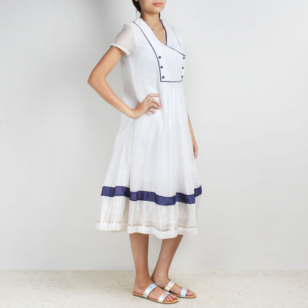 Kalidar Handwoven Chanderi Silk Dress With Pintuck Yoke